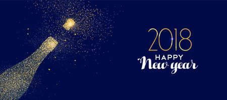 Feliz ano novo 2018 celebração de garrafa de champanhe de ouro feita de pó de glitter dourado realista.