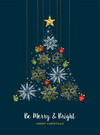 Merry Christmas modern luxury gold color decoration greeting card with winter holiday snowflakes in Christmas pine tree shape.