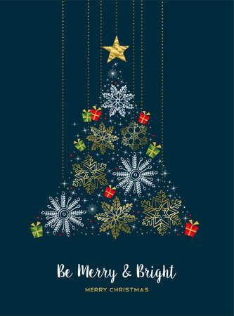 Wesołych Świąt nowoczesny luksusowy złoty kolor dekoracji kartkę z życzeniami z zimowymi płatkami śniegu w kształcie choinki.