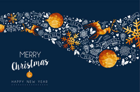 Merry Christmas greeting card with new year holiday message and gold luxury xmas ornament decoration. Includes reindeer, bauble ball, snowflake. EPS10 vector. Stock Illustratie