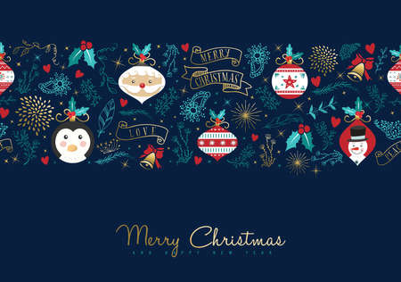 Merry Christmas seamless pattern greeting card with text quote typography for new year holidays. Includes santa claus, snowman and penguin cartoon decoration. EPS10 vector.