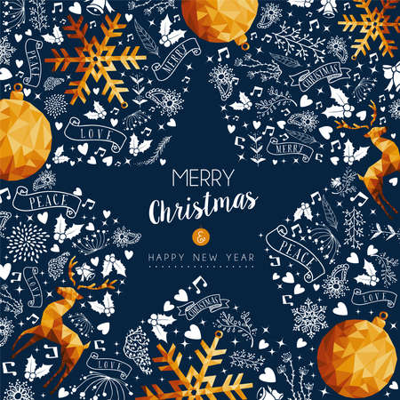 Merry Christmas greeting card with new year text quote and gold luxury decoration in star shape. Includes deer, xmas pine tree, snowflake. EPS10 vector.
