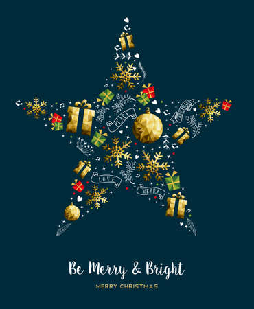 Merry Christmas modern luxury gold color decoration with holiday ornaments in xmas star shape. EPS10 vector.