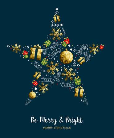 Vrolijke gouden de kleurendecoratie van de Kerstmis moderne luxe met vakantieornamenten in de vorm van de Kerstmisster. EPS10 vector.