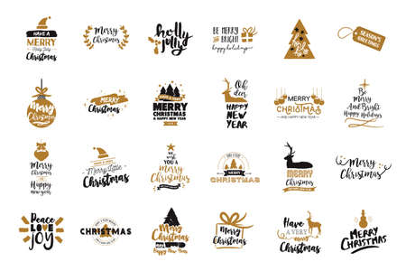 Merry Christmas text quote collection, calligraphy lettering design for holiday season.