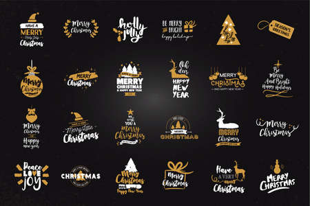 Merry Christmas gold quote set, calligraphy lettering design for holiday season.