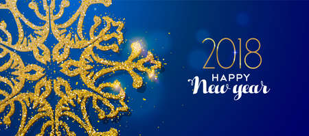 Happy new year 2018 message with gold snowflake made of realistic golden glitter dust. Ideal for holiday card or luxury party invitation. Stock Illustratie