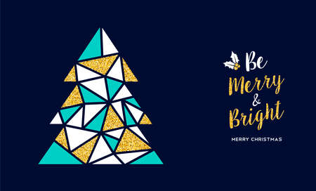 Merry Christmas greeting card illustration, Christmas pine tree made of gold glitter geometric shapes with happy holiday message.