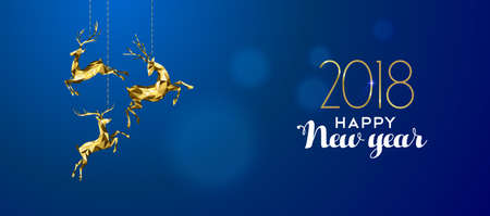 Happy new year 2018 message with gold low poly reindeer decoration on blur illustration.