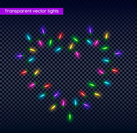 Christmas lights on transparent background in heart shape, realistic holiday garland light for easy design.  vector.