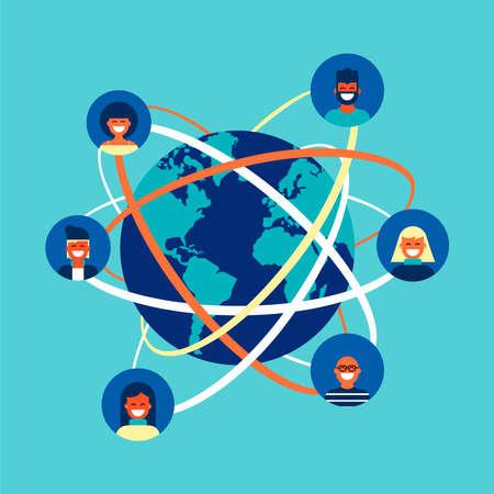 Social network world connection concept illustration. Team of diverse people online doing internet activity worldwide. Illustration