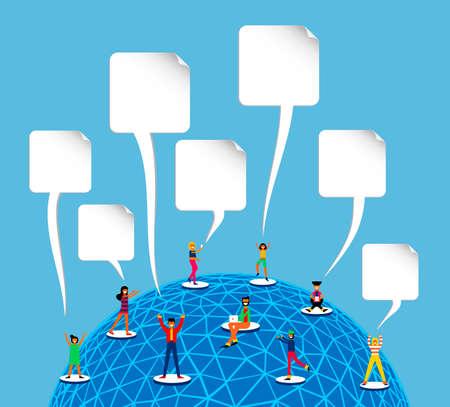 Os povos conectaram à rede social dos meios em todo o mundo, ilustração mundial do conceito do acesso à internet no estilo liso moderno da arte. Ilustración de vector