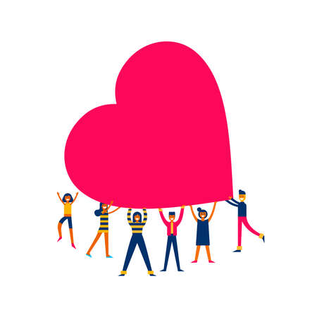 Group of people holding giant heart, love makes the change concept illustration in modern flat art style.