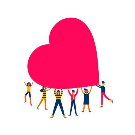 Grupa ludzi trzymających gigantyczne serce, miłość sprawia, że ilustracja koncepcja zmiany w nowoczesnym stylu płaskiej sztuki.
