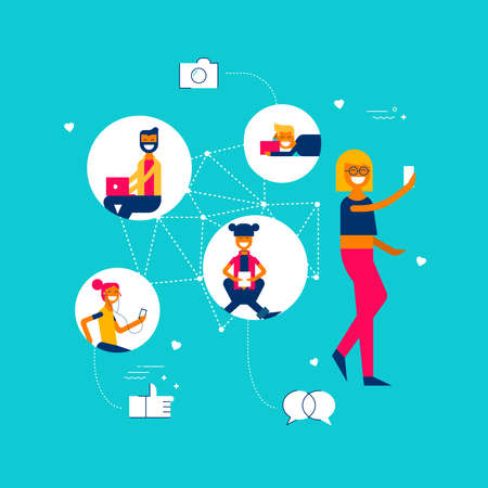 Girl on social media network app connected to diverse people group, internet influence concept illustration in modern flat art style with symbols and icons Illustration