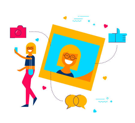 Young woman posting selfie photo on social media network app, modern flat art style illustration with symbols and icons. Illustration