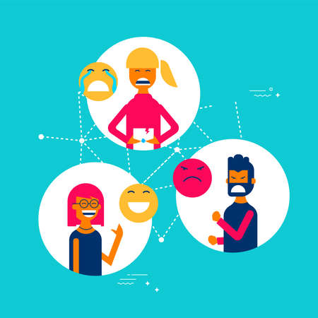 Social media reactions concept illustration in modern flat art style, group of people using different emoji to express their emotions and feelings.
