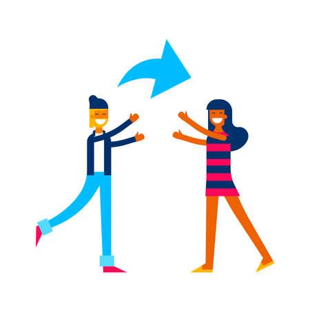 Social media online sharing concept illustration in modern flat art style, friends sending content on internet network.