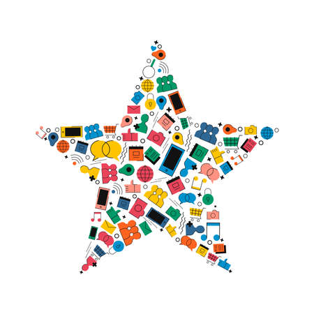 Social media favorite concept illustration in modern flat color style. Star shape made of internet icons. Includes shopping cart, chat, photo and phone symbols.