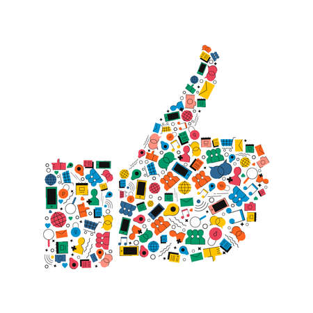 Hand with thumb up made of colorful flat style social media icons. Internet like sign concept illustration includes music, photo, GPS, chat, mail symbols.