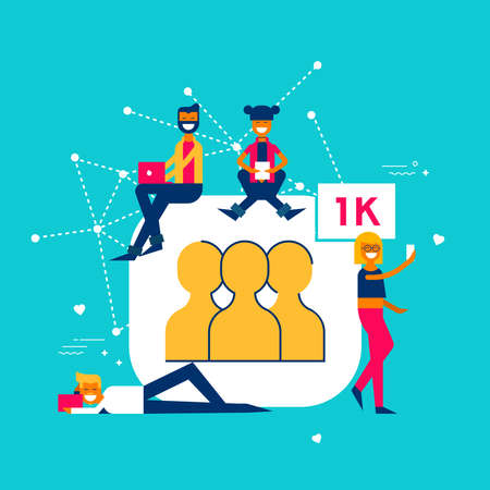 Social media followers concept illustration in modern flat art style. Young people group celebrating 1000 fans on internet network.