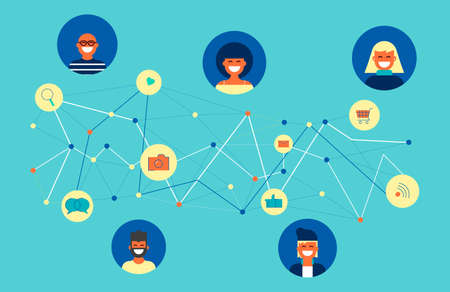 Social network concept illustration, group of multicultural people connected online to internet activities. Includes chat, mail, camera and messaging icons. Stock Illustratie