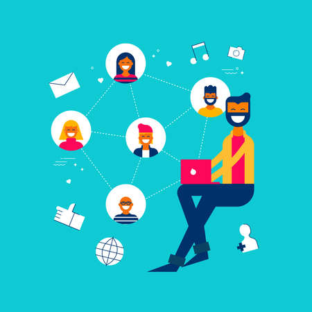Man on social media network app interacting with followers, internet influence concept illustration in modern flat art style. Иллюстрация