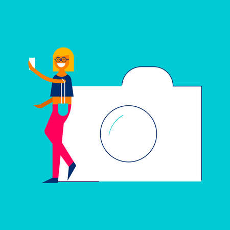 Photo sharing concept illustration in modern flat style, young girl taking selfie picture with mobile phone for social media network.
