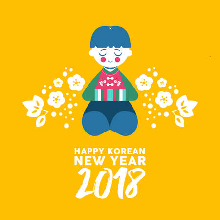 Happy Korean New Year 2018 greeting card, cute boy bowing for happiness and good fortune. Kid in colorful traditional hanbok dress with text quote, floral decoration. EPS10 vector.