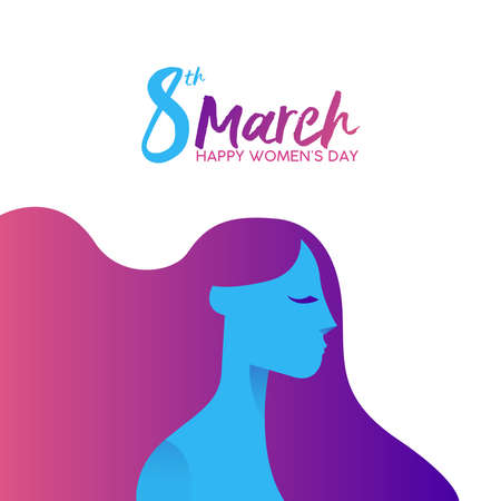 Women's Day on 8th of March greeting card illustration with beautiful long haired girl and inscription.
