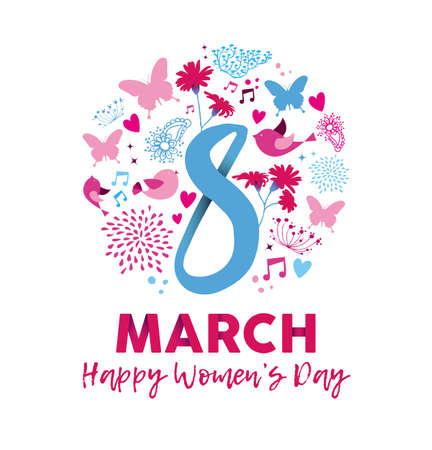 Happy Womens Day 2018 greeting card illustration with feminine decoration and nature elements.