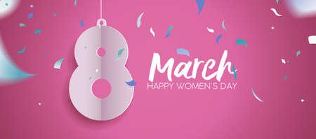 Feliz día de la mujer 2018 ilustración de banner web, papel cortado el 8 de marzo con confeti de fiesta y cita de tipografía. Divertido diseño de celebración en color rosa. ilustración vectorial