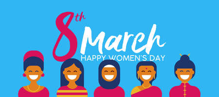 Women's Day on 8th of March illustration with group of ethnic women in traditional clothing for diverse worlwide celebration. Stock Illustratie