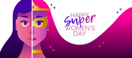 Happy Womans Day illustration, superhero girl concept with hero woman face costume and celebration typography quote. Horizontal card format for web banner or header. vector illustration.