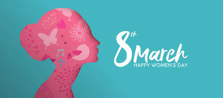 Happy Women's Day holiday illustration. Paper cutout girl face with pink spring doodles and flowers. Horizontal format design ideal for web banner or greeting card. EPS10 vector.  イラスト・ベクター素材