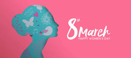 Happy Women Day holiday illustration. Paper cut girl head silhouette cutout with hand drawn spring and flower doodles.
