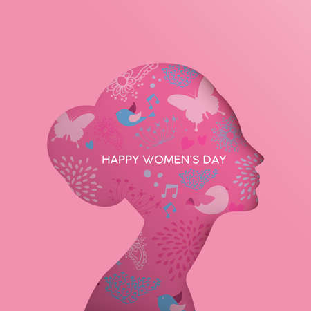 Happy Womens Day holiday greeting card illustration. Paper cut girl head silhouette cutout with hand drawn spring and nature doodles. EPS10 vector.   
