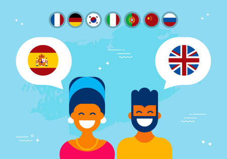 Communication translation concept illustration, modern flat art style. Boy and girl having online conversation in spanish to english language. EPS10 vector.