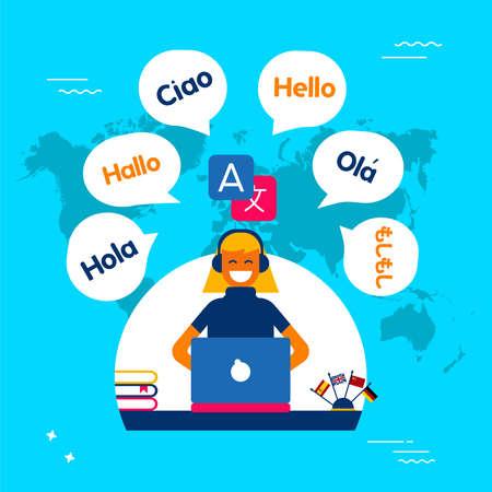 Illustrazione di concetto di servizio online di traduzione. Ragazza sul computer utilizzando la traduzione di app nel sito di social media. Vettore EPS10. Archivio Fotografico - 96838073