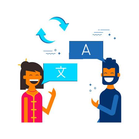 Social media international communication translation concept illustration. Boy and girl translating online conversation on chat bubbles. EPS10 vector.