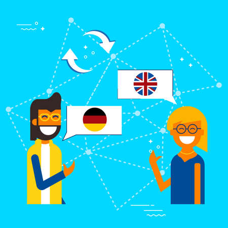 Friends from Germany and United Kingdom translating online conversation. International communications translation concept illustration. EPS10 vector. Archivio Fotografico - 96840527
