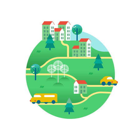 Eco friendly world with public transport, electric cars, solar panels on houses and wind turbines. Environment conservation concept illustration in modern flat art style. EPS10 vector.