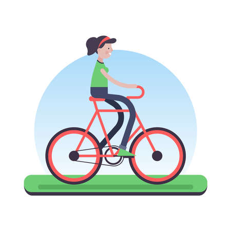 Happy girl riding a bike outdoor. Eco friendly biking transport green concept illustration in trendy flat style. EPS10 vector.