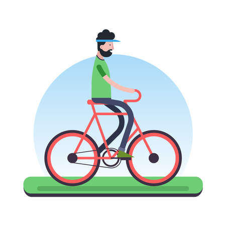 Happy man riding a bike outdoor. Eco friendly transport concept illustration in modern flat style. EPS10 vector. Illustration