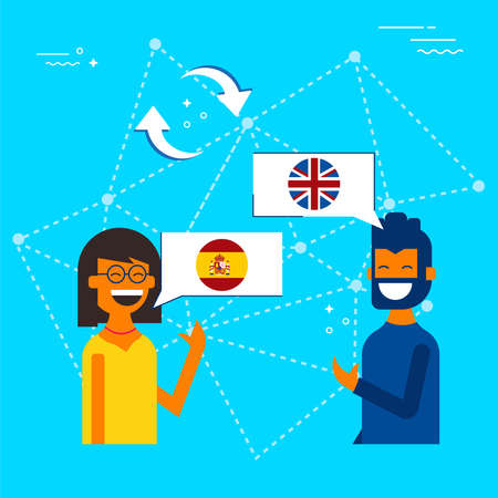 International communication translation concept illustration. Friends from Spain and England chatting on social media translator app. EPS10 vector. Archivio Fotografico - 96840529