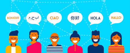 Diverse group of people talking in different languages. Multi cultural team concept illustration ideal for web banner. EPS10 vector. Vettoriali