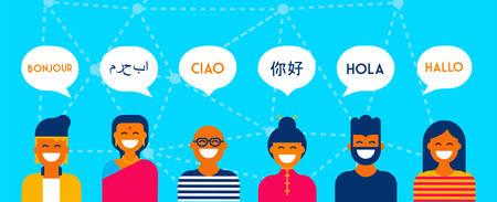 Zróżnicowana grupa ludzi mówiących różnymi językami. Wielokulturowa ilustracja koncepcja zespołu idealna na baner internetowy. Eps10 wektor. Ilustracje wektorowe