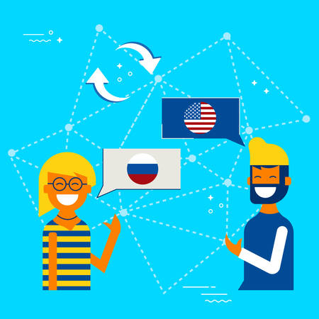Friends from Russia and USA translating online conversation. International communications translation concept illustration. EPS10 vector.