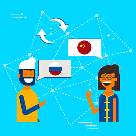 International communication translation concept illustration. Friends from China and Russia chatting on social media translator app. EPS10 vector.