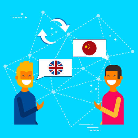 Communication translation concept illustration, modern flat art style. Friends having online conversation in chinese to english language. EPS10 vector. Stockfoto - 96840535